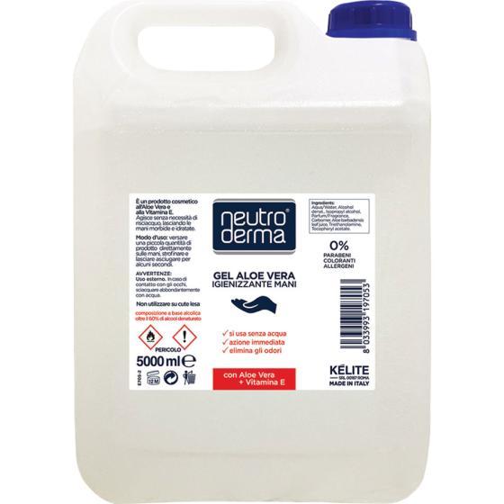 Gel mani all'Aloe Vera e alla Vitamina E con oltre il 60% di alcol denaturato dall'azione igienizzante a antibatterica. Tanica da 5 litri.