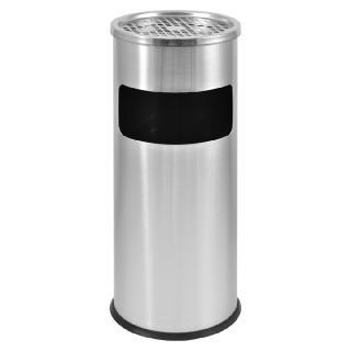 Portacenere con cestino cilindrico acciaio