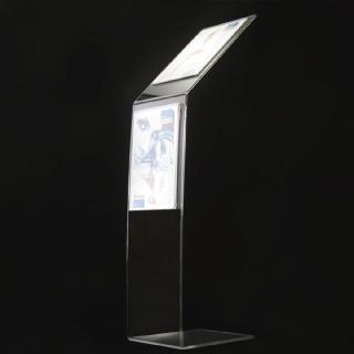 Leggio porta avvisi trasparente in plexiglass